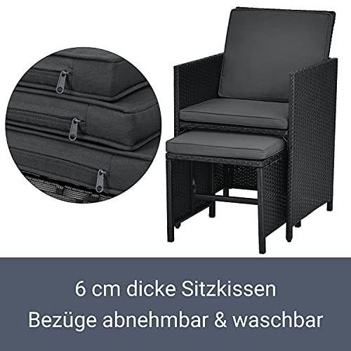 Juskys Polyrattan Sitzgruppe Baracoa XXL 13-teilig wetterfest & stapelbar – Gartenmöbel Set mit 8 Stühle, 4 Hocker & Tisch für Garten & Terrasse - 5