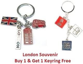 Union Jack Flag London Bus Phone Booth England Handbag Charm Souvenier Keyring - KeyChain - I Love London Keychain - London Souvenir Keychain