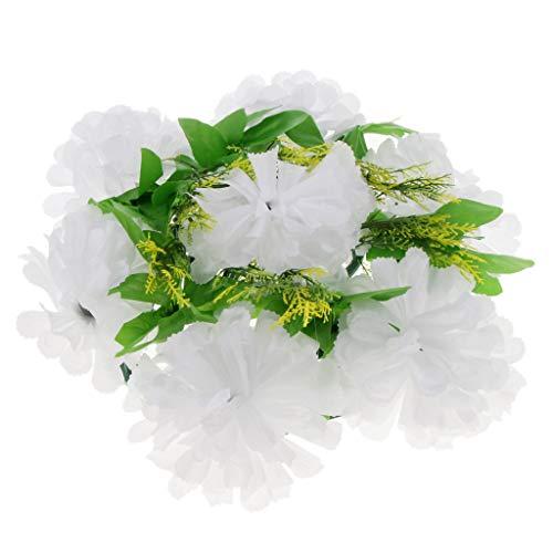 Langlebig Grabschmuck Grabgesteck Blumen Gesteck Chrysanthemen Kranz für Urnengrab Grab Waldfriedhof - Weiß