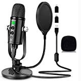 Microphone for Podcast, PROAR USB Microphone Kit for iPhone, PC/Micro/Mac/iOS/Android,Professional...