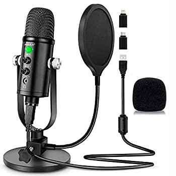 Microphone for Podcast PROAR USB Microphone Kit for iPhone PC/Micro/Mac/iOS/Android,Professional Plug&Play Studio Microphone with Stand for Gaming Online Chatting Videos Voice Overs Streaming