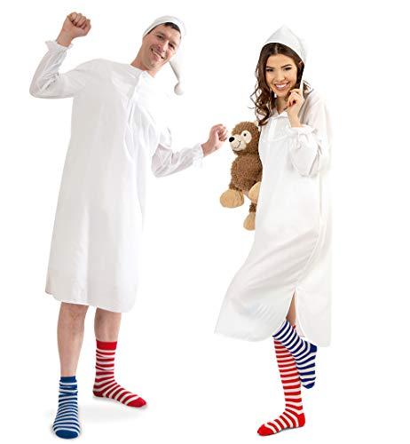 KarnevalsTeufel Herren-/Damenkostüm Nachthemd, Hemd mit Mütze, Fasching, Schlafanzugparty (Large)