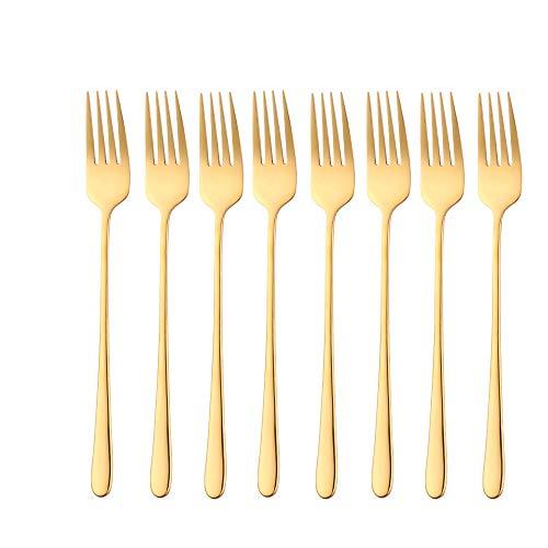 Do Buy Edelstahl 18/10 Tafelgabeln Gold Besteck Set Tisch Gabel Menügabeln 8 Stück 215mm Lange Griff Gabeln für Buffet Steak Dessert Obst Pasta Küche Gaststätte Table Fork Anti-Rost Wiederverwendbar