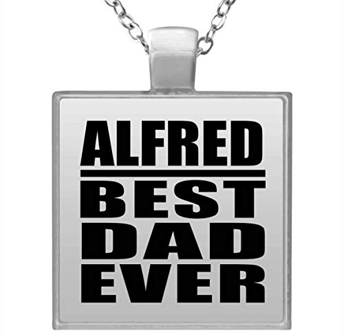 Alfred Best Dad Ever - Square Necklace Collar, Colgante, Bañado en Plata...