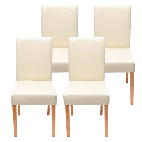 Mendler 4X Esszimmerstuhl Stuhl Küchenstuhl Littau - Kunstleder, Creme helle Beine