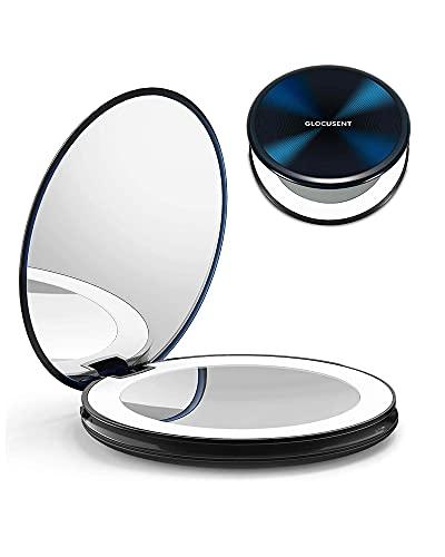 Glocusent Miroir de Maquillage Grossissant 1 X / 10X avec Lumières, 40 LEDs & 3 Modes de Couleur & Luminosité Réglable, Rechargeable & Durable, Compact & Pliable, Idéal pour Voyage& Prêt à partir