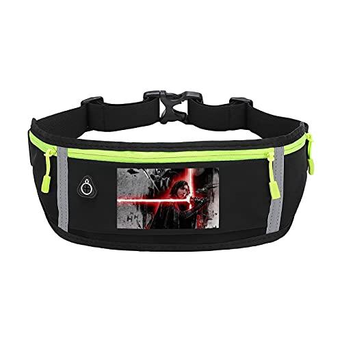 Star Wars - Cinturón deportivo para correr, doble bolsa a prueba de sudor, reflectante, cintura delgada, compatible con la riñonera