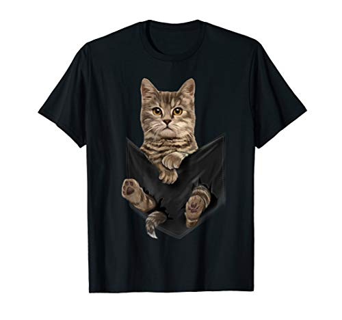 Brown Cat Sits in Pocket T-Shirt Cats Tee Shirt Gifts
