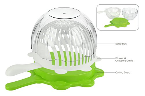 Urban Trend Smart Cut Salad  Rinse Cut amp Serve  Combines Elegant Salad Bowl Strainer Colander Chopping Guide and Cutting Board  Fresh Vegetable and Fruit Salad Maker in Less Than 60 Seconds