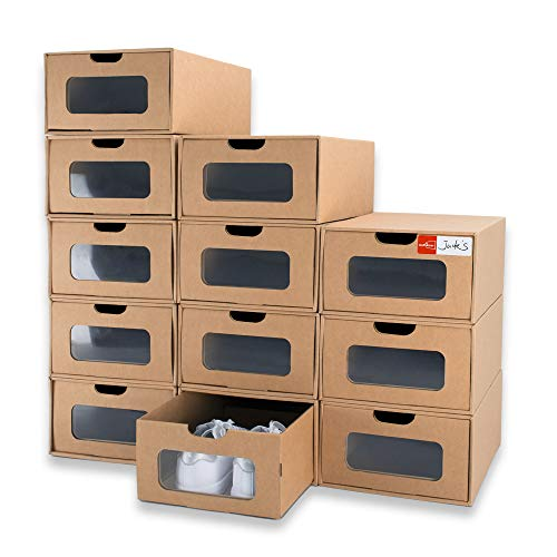 WallQmer Shoes Box, 12 Pack, 13 x 8.7 x 5.5in Waterproof Cardboard, Heavy Duty, Stackable, Stable Storage Boxes, with Marking Labels, Transparent Window
