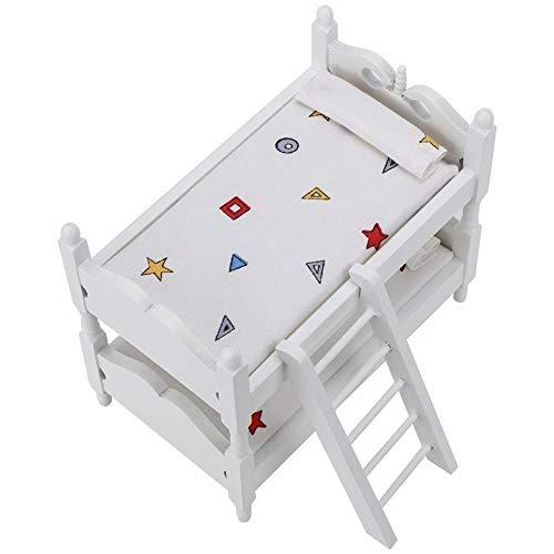 GYC Mini Juego de Cama de Muebles de casa de muñecas Muebles de casa de muñecas Muebles de casa de muñecas Cama de Matrimonio 1:12 Litera de muñeca Muebles de casa de Juguete Cama de Matrimonio