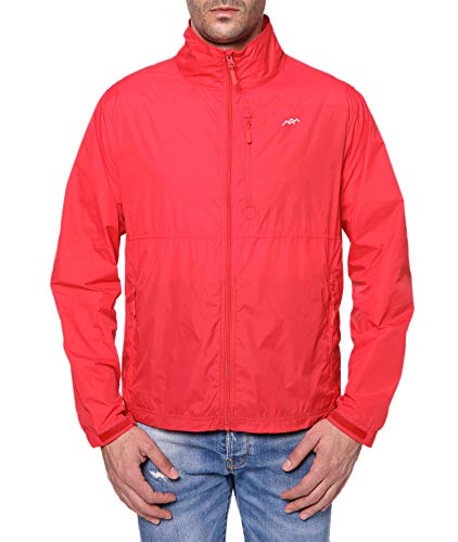 TRAILSIDE SUPPLY CO. Mens Windbreaker Jackets Lightweight Packable Jacket,Windproof and Dustproof Red Size Medium