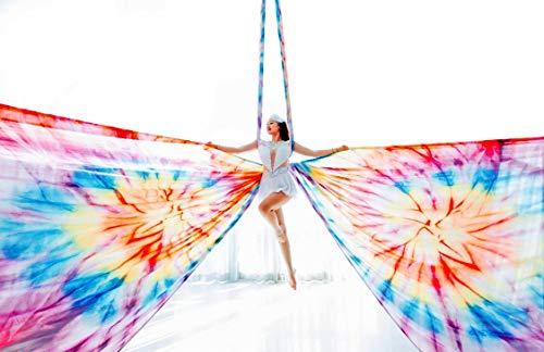Mandala-Tie Dye Aerial Silks Kit For Acrobatics Aerial | Aerial Yoga |Aerial Dance-13 Yards - Rigging Hardware Include Carabiners,Rescue 8,Swivel, Height Adjustment Strap, Portable Storage (Mandala)