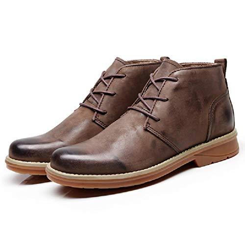 TAOBEGJ Botas Cortas De Trabajo para Hombre, Zapatos De Cuero De Vaquero Occidental, Vestido De Negocios, Botines De Caballero, Botas Informales con Cordones Al Aire Libre,Brown-43