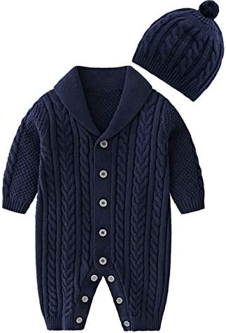 JooNeng Baby Newborn Cotton Knitted Sweater Romper Longsleeve Outfit with Warm Hat Set 3 6 Months product image