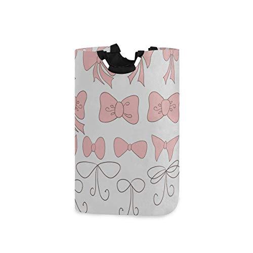 Cestas para hombre para lavandería, dibujos animados pintados a mano, lazos rosados, cestas para hombres, para lavandería, cesta de lavandería, carrito de almacenamiento, 11 x 12,6 x 22,7 pulgadas, pl