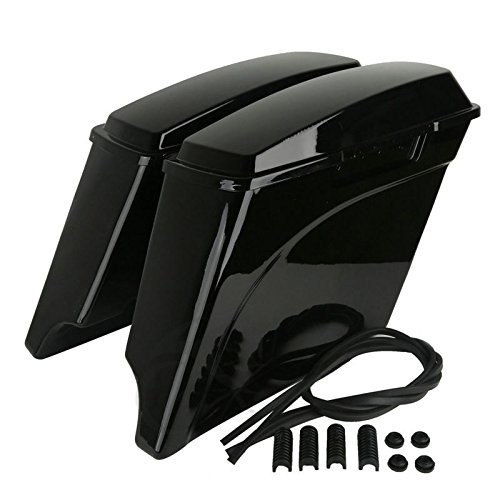 """TCMT 5"""" Stretched Extended Hard Saddlebags Trunk W/Lid Fits For Harley FLH FLT Road King Road Street Electra Glide Ultra-Classic 1993-2013"""