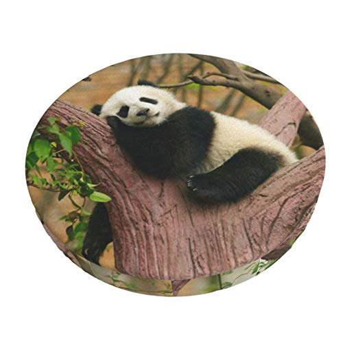 Round Bar Stool Cushions Covers Funny Giant Panda Baby Cute Non Slip Round Seat Cover Protector Stretch Barstools Velvet Slipcover for Circle Medical Spa Drafting Work Massage Chair