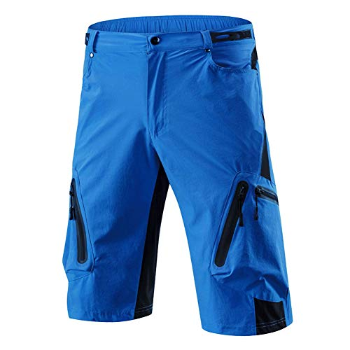 Mountain Bike Shorts Herren Atmungsaktiv, Loose Fit Radhose Mit 6 Big Pockets Wear-Resistant Quick Dry Leicht, Für MTB Downhill Sport,Blau,XXXXL