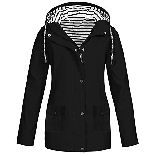 Pianshanzi Chubasquero para mujer, impermeable, transpirable, con capucha, plegable, larga, abrigos para mujer, tallas grandes, ligera, para ciclismo, senderismo, ciclismo, Negro , 5X-Large