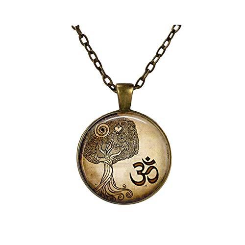 Joyería de yoga, collar del Om, colgante del arte del árbol de la vida Zen yoga, adornos de cristal cúpula, regalos para ella