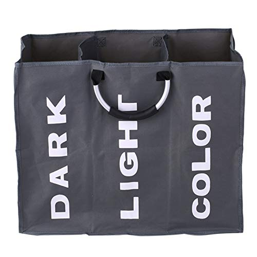 3-seção grande dobrável oxford saco de cesto de roupa suja organizador de armazenamento de roupa suja com alças de alumínio - cinza escuro