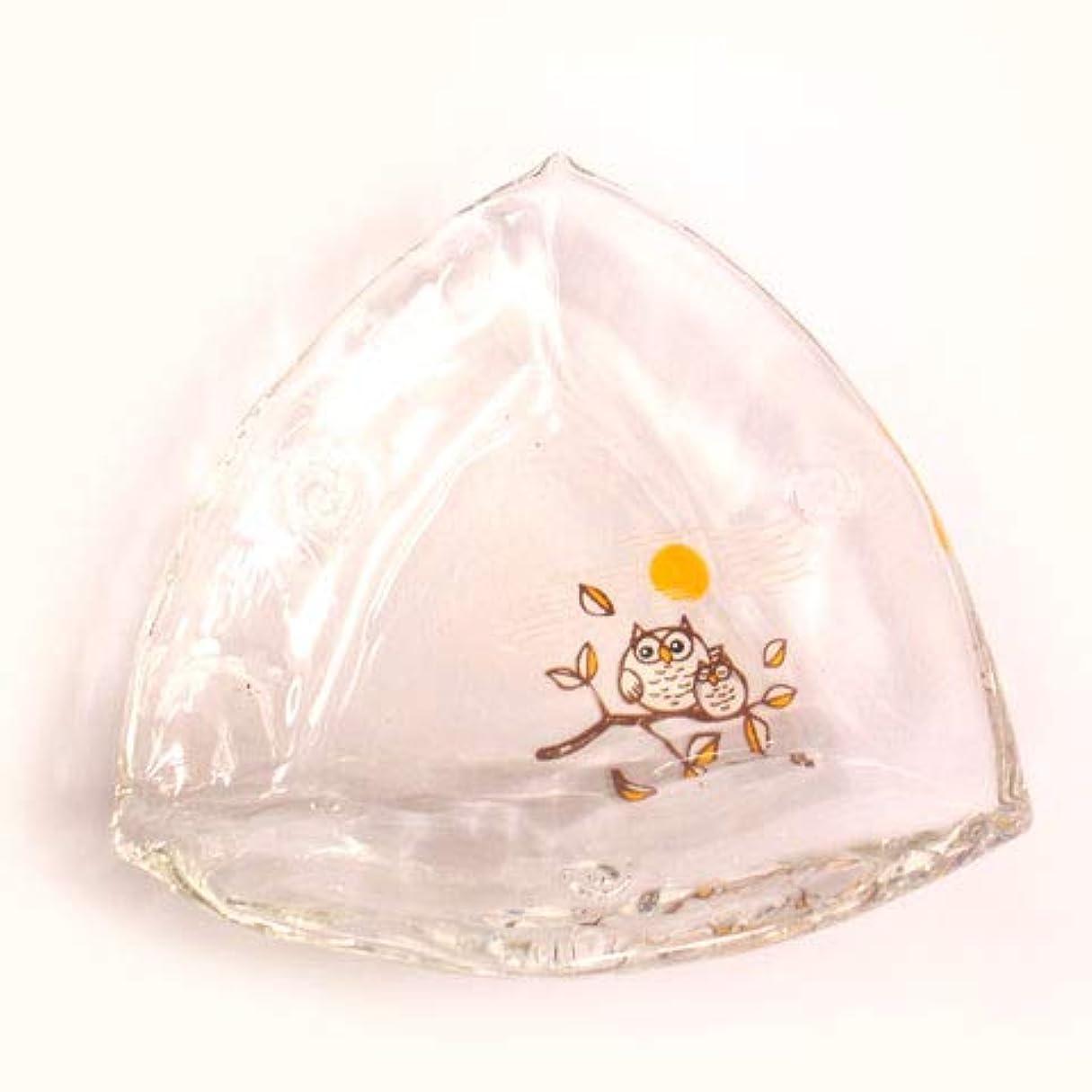 であること降臨スムーズにミニガラス皿【三角小皿?梟ふくろう】小物入れ インテリア