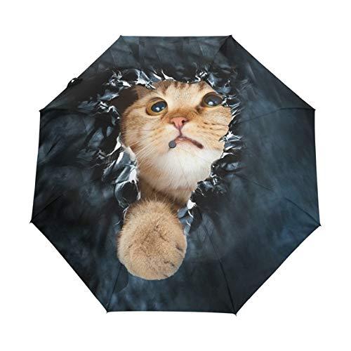 EFKKLM Taschenschirm Regen Frauen Schwarz Qualität Automatische Sonnenschirme Anti Uv Nette Katze Muster Sonnencreme Sonnenschirm