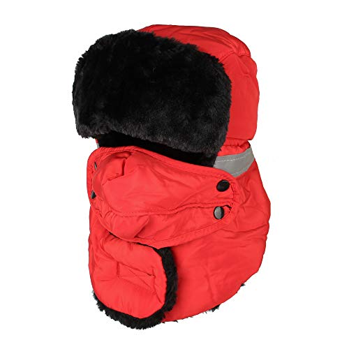 WITHMOONS Winter Trapper Russian Hat Earflaps Windproof cap AZT0014 (Red)