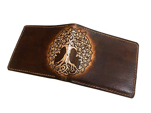 Mayan Corner - Tree of Life Celtic leather handmade bifold men wallet special birthday anniversary boyfriend father Gifts - 3BR