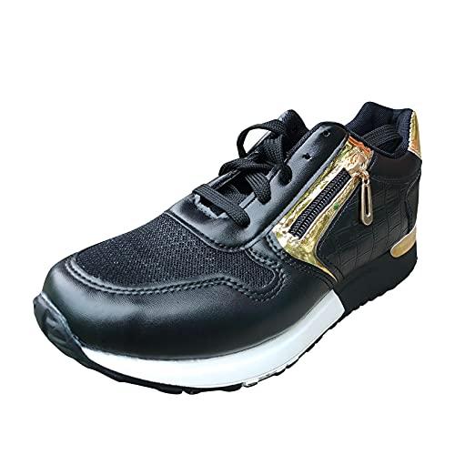 Zapatillas de Senderismo para Mujer Tejidas Ligeras y elásticas Transpirables para Caminar a la Moda, cómodas Zapatillas Deportivas Mary Jane (M29_Black,39)