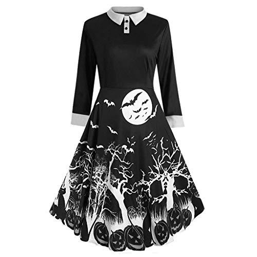 Cinnamou Femmes Casual Fashion Halloween Dentelle Manches Longues Vintage Crâne Imprimer Soirée Robe De Soirée Robes Soirée Vintage 1950's Audrey Hepburn pin-up Noël Imprimé