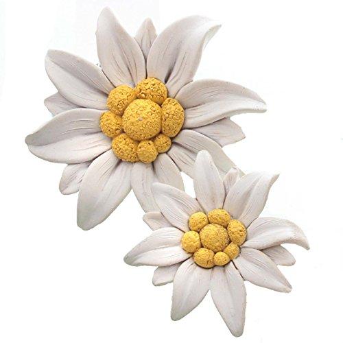 Trauer-Shop Edelweiß Blüten zum Legen, Kunstharz. 6cm / 9cm. 2 Größen, 2 Stück
