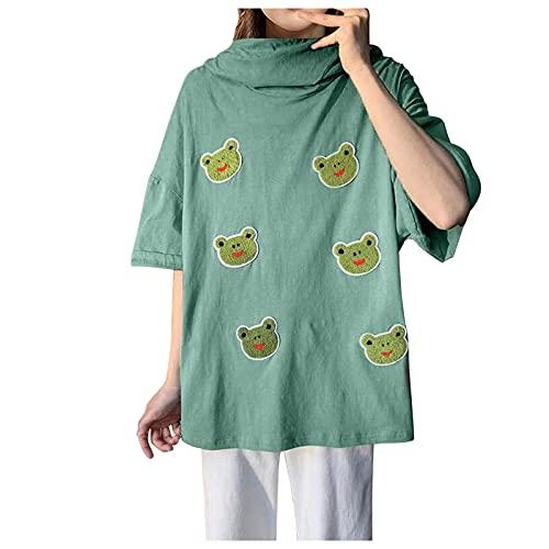 Camisetas con Capucha Mujer Verano, Sudadera Deporte Divertidas Camiseta de Manga Corta con Cremallera con Estampado de Rana, Mujers Camisas Blusas Tops T Shirts Funny Casual Verde, Blanco, Negro