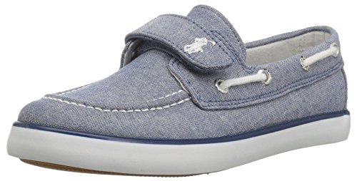 Polo Ralph Lauren Kids Unisex-Kid's Sander EZ Boat Shoe, Blue Chambray White pop, M105 M US Little Kid