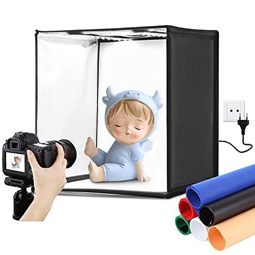 Yuanj Fotobox Mini Tragbarer Fotostudio Set 40 * 40 * 40 cm, Photobox/Lichtzelt mit Einstellbarer Beleuchtung & 6 Farbhintergründen, Fotozelt für Produktfotografie