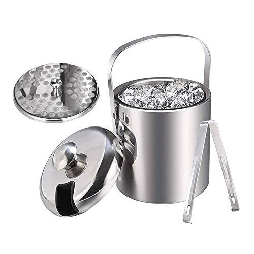 GOHHK Edelstahl-Eiskübel mit Zange, tragbarer doppelschichtiger isolierter Kühler, 1,3 l runder kalter Bierbehälter, für Barparty, Küche, Picknick
