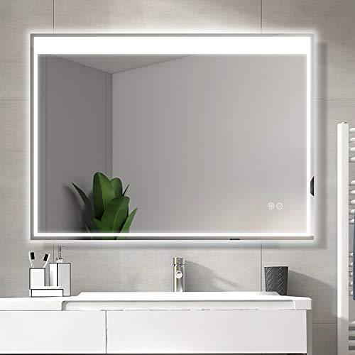 LED浴室ミラー 浴室鏡 防曇 防水 壁掛け 照明付き 化粧鏡 洗面所 洗面台 おしゃれ 三色 色温度3000-6000K調節可能 (60*80 CM - 02)