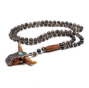 zzzddd Männer Lustige Halskette,Tibetische Natürliche Dzi Achat Stein Strang Perlen Halskette Kuh Bull Ochsen Kopf Zahn Schädel Charms Halskette Männer Amulett Glücksgeschenk