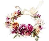 Rose Flower Crown Flower Garland Headband Hair Wreath Floral Headpiece Halo Boho with Ribbon Wedding Party Photos by Vivivalue