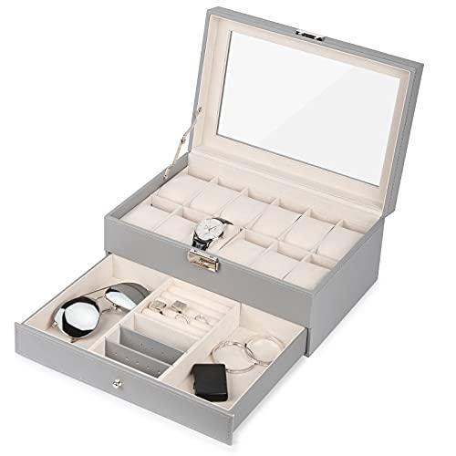 JS NOVA JUNS Caja de reloj 12 ranuras, caja de joyería de cuero PU con tapa de cristal, organizador gris para hombres y mujeres..