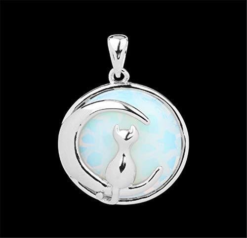 Prsellings Collar De Luna De Gato De Piedra Natural Redondo, Lindo Gatito Collar Afortunado Adecuado Para Mujeres Y Niñas Collar Colgante De Regalo Ópalo