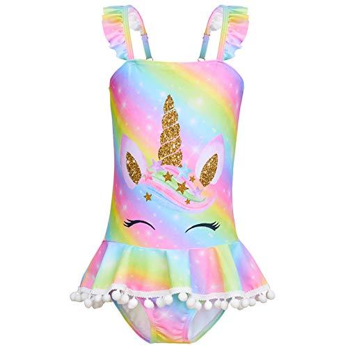 Basumee Girls Swimming Costume One Piece Girls Swimsuit Bathing Suit Swimwear with Skirt 4-9 Years Rainbow