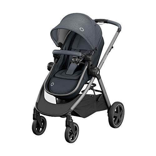 Maxi Cosi Zelia 'Essential Graphite' - Cochecito Urbano 2 en 1, Diseño Compacto, Sistema Plegable, para Bebés de 0 Meses hasta 3, 5 Años, Color Gris Oscuro