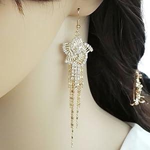 YABINA Long Tassel Luxury Crystal Dangling Earrings Jewelry Accessories (Gold)
