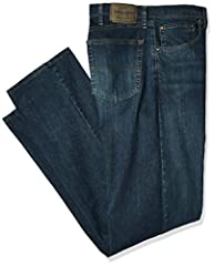 REGULAR FIT. This classic five-pocket jean is constructed with a regular fit through the seat and thigh, made to sit at the natural waist DURABLE MATERIALS. Made with durable flex denim, these jeans are built to last and will allow you to move with c...