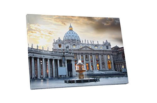 """Basilica di San Pietro Vatican Rome Cathedral Gallery Wrapped Canvas Wall Art (30"""" x 20"""")"""