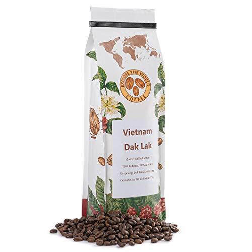 EXPLORE THE WORLD COFFEE Vietnam Dak Lak - Ganze Kaffeebohnen 500 Gramm - Dunkle Röstung - 70% Robusta, 30% Arabica - Spezialitätenkaffee für Espresso, Cappuccino - Vietnamesischer Kaffee (500)