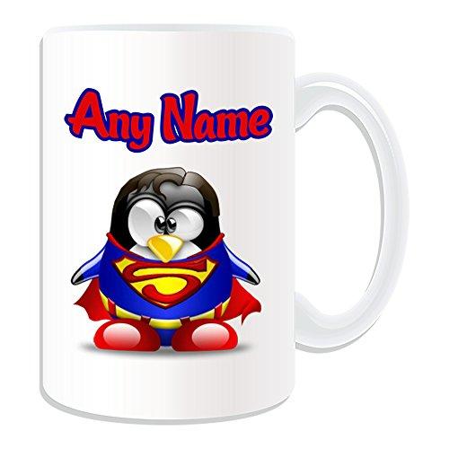 Personalizado Regalo–Taza, diseño de Clark Kent grande (pingüino), diseño de personaje Tema, Blanco)–Cualquier Nombre/Mensaje en tu único–Disfraz Movie Hero Kal-el de superhéroe Superman