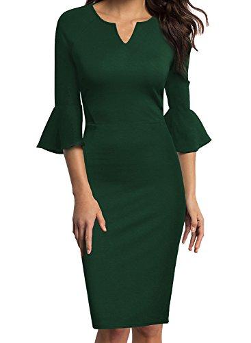WOOSUNZE Womens Flounce Bell Sleeve Office Work Casual Pencil Dress (Green, Medium)